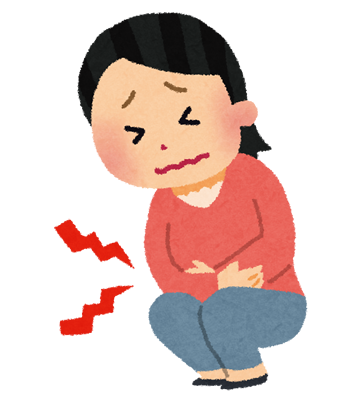 胆石で腹痛の女性