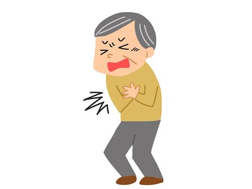 胸痛のあるおじいさん